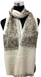 Pure Pashmina Bronze Aari Embroidered Scarf - Chaddors