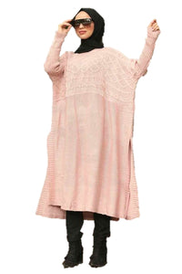 Pink Cable Knit Ponchos - Chaddors
