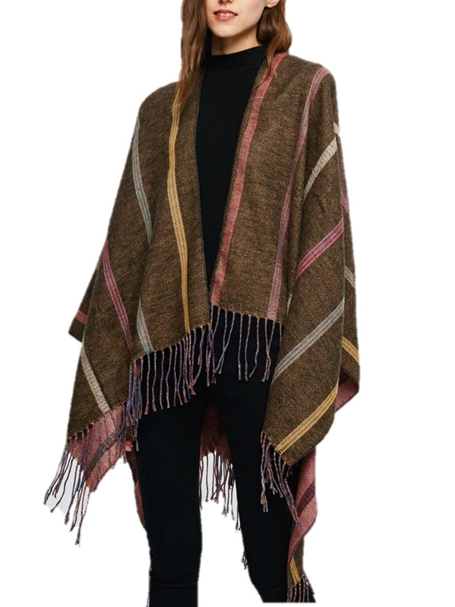 Brown Multi Stripes Cape