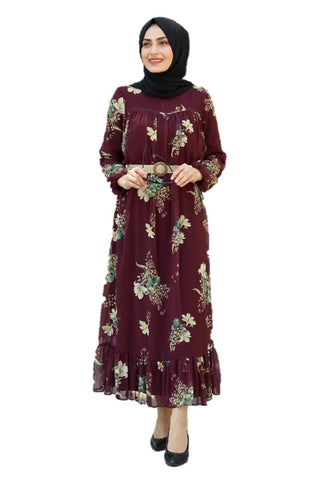 Alya Plum Turkish Dress - Chaddors