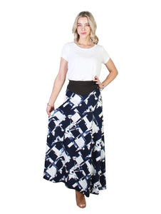 Navy Abstract Print A-Line Midi Skirt - Chaddors
