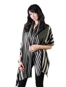 Green Chic Stripes Blanket Scarf - Chaddors