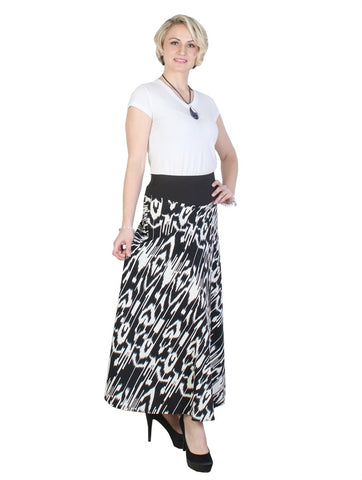 Black And White A-Line Midi Skirt - Chaddors