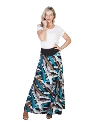 Abstract Multi Print A-Line Midi Skirt - Chaddors