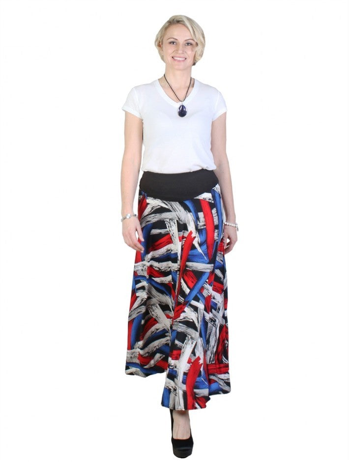 Printed Red/Blue A-Line Midi Skirt - Chaddors
