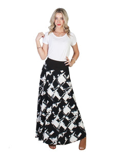 Black Abstract Print A-Line Midi Skirt - Chaddors