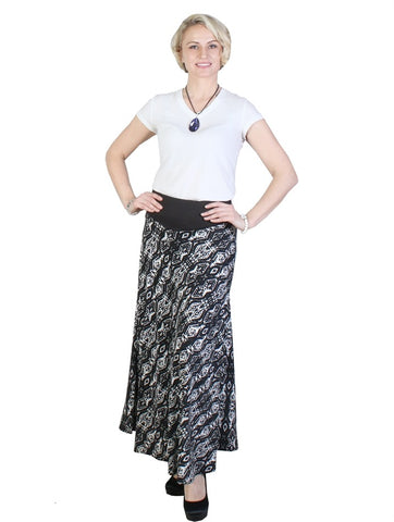 Abstract Print A-Line Midi Skirt - Chaddors