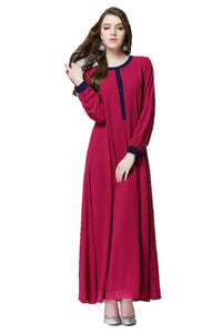 Magenta Classic Button Dress - Chaddors