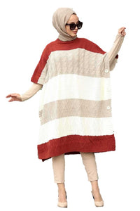Beige Cable Poncho