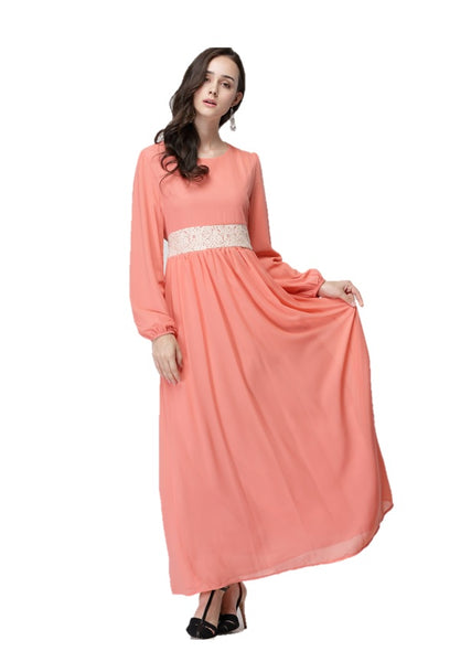 Peach with White Lace Dress - Chaddors