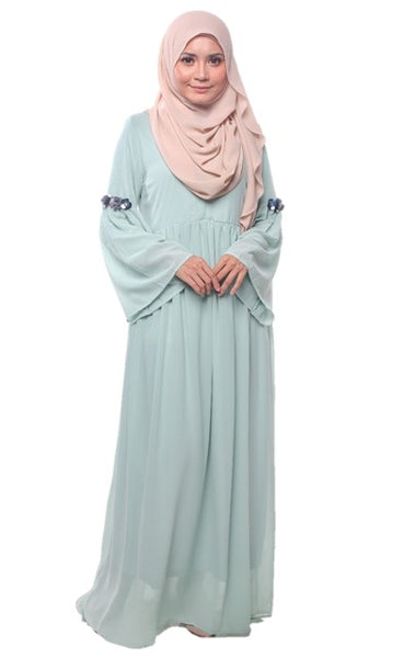 Mint Bell Sleeves Chiffon Dress - Chaddors