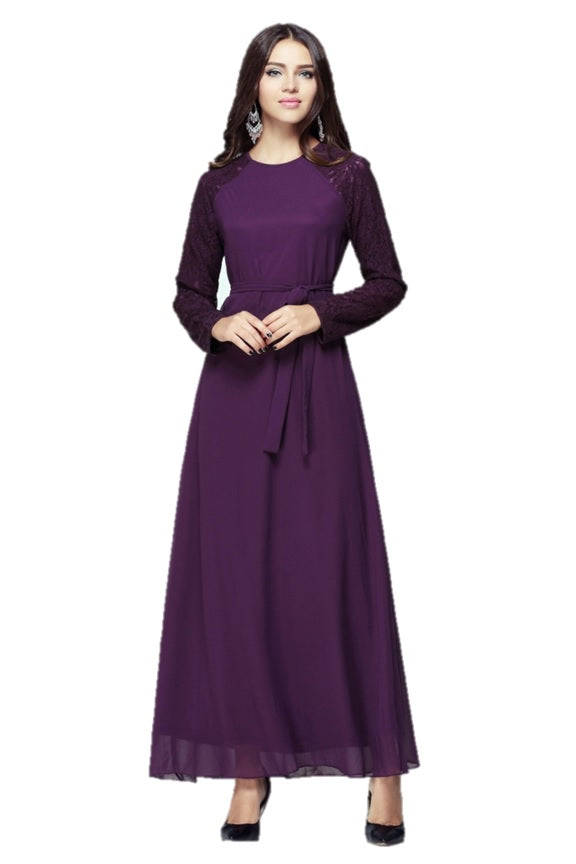 Purple Lace Dress with Belt - Chaddors