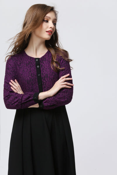Purple and Black Lace Pleated Dress - Chaddors