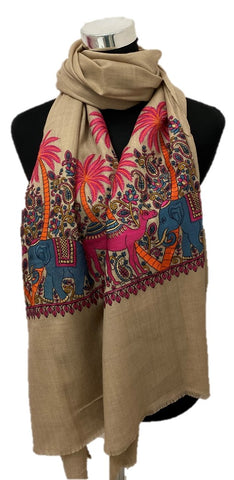 Pure Pashmina Modern Embroidered Scarf