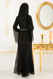 Black Lace Turkish Dress - Chaddors