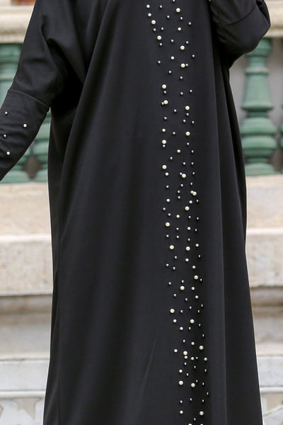 Black Turkish Abaya with Pearls - Chaddors