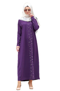 Purple Turkish Abaya with Pearls - Chaddors