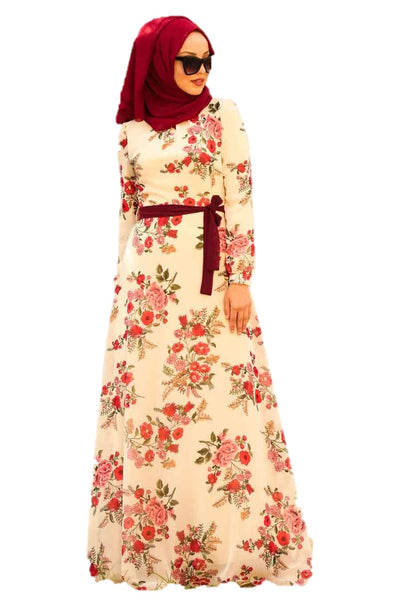Red Flowers Printed Turkish Dress - Chaddors