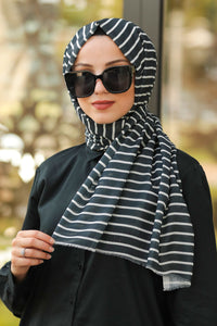 Black & White Stripes Turkish Hijab