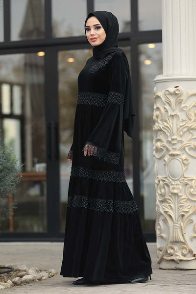 Black Velvet Turkish Dress - Chaddors