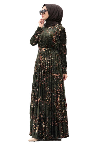 Green Velvet Printed Turkish Dress