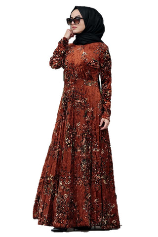 Rust Velvet Printed Turkish Dress - Chaddors