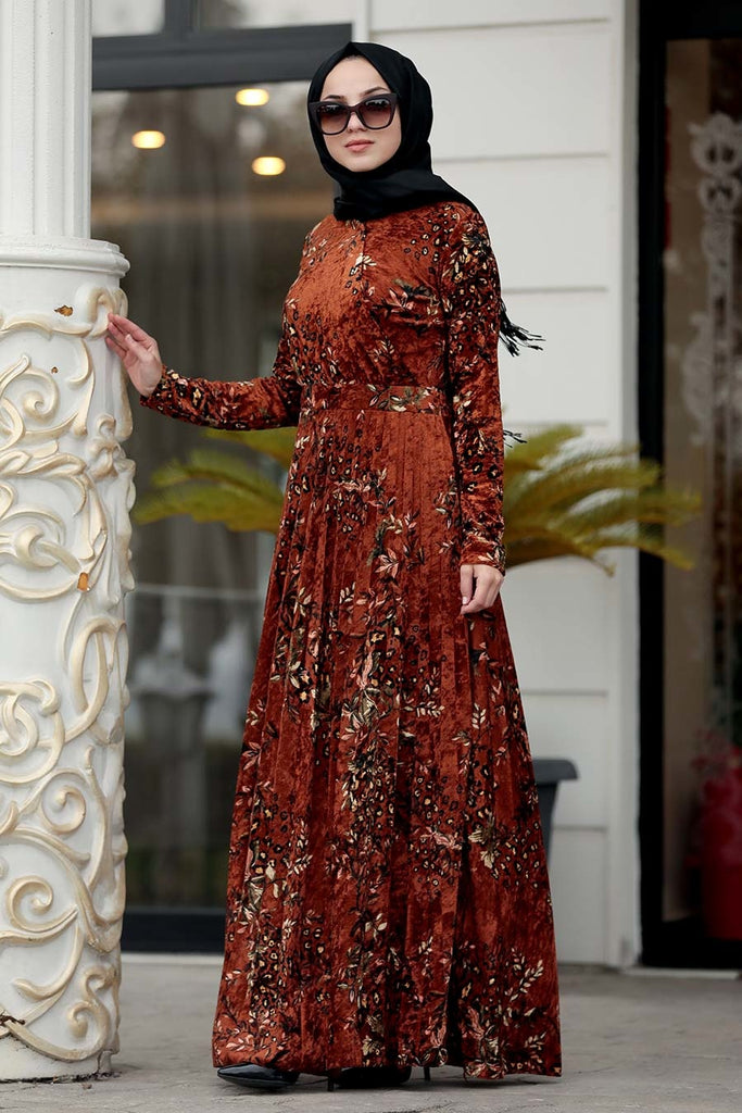 Rust Velvet Printed Turkish Dress Chaddors
