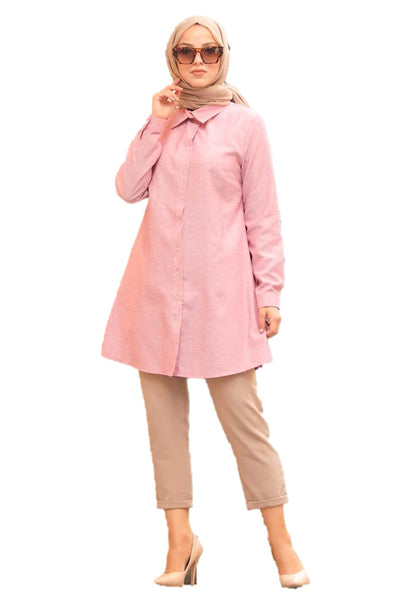 Pink Front Open Turkish Tunic
