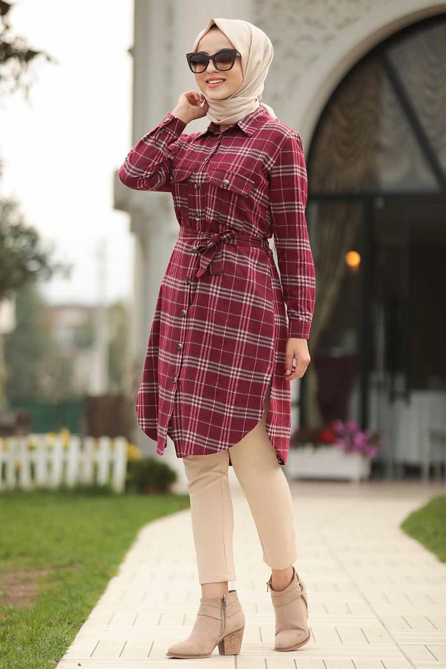 Red Plaid Long Turkish Top - Chaddors