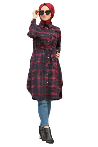 Navy Plaid Long Turkish Top - Chaddors
