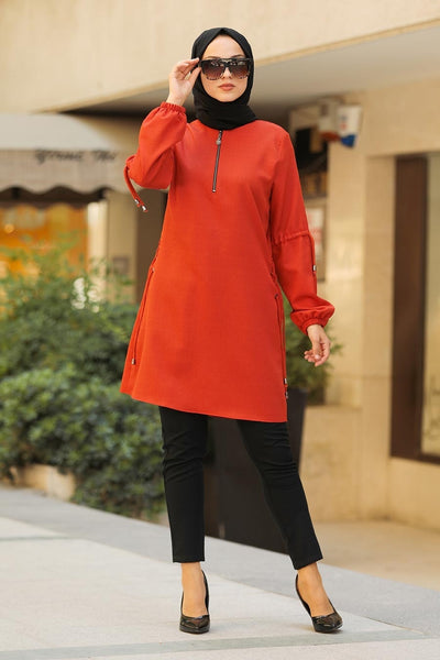Rust Zippered Turkish Tunic