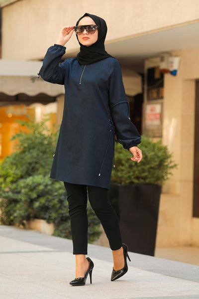 Navy Zippered Turkish Tunic