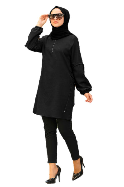 Black Zippered Turkish Tunic