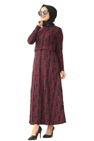 Maha Maroon Turkish Dress - Chaddors