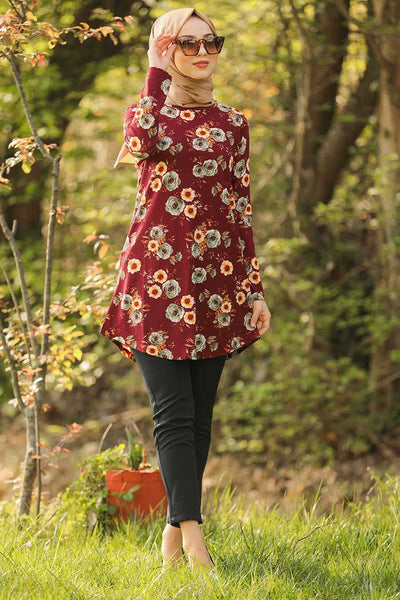 Maroon Roses Tunic - Chaddors
