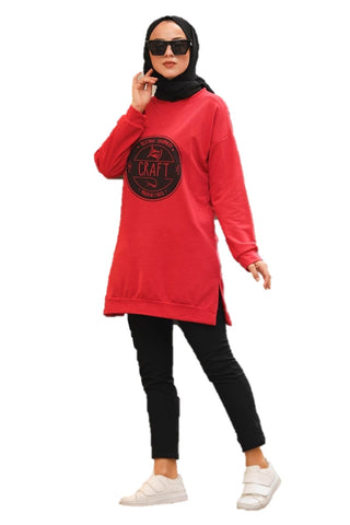 Red Craft Tunic Top
