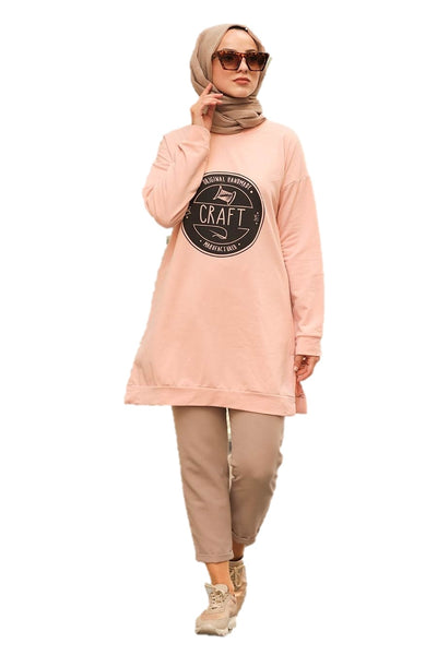 Light Peach Craft Tunic Top
