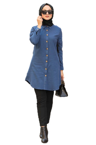 Front Open Blue Turkish Tunic - Chaddors