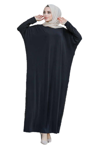 Black Bat Sleeve Turkish Abaya