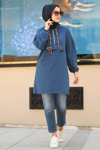 Blue Sweatshirt Tunic