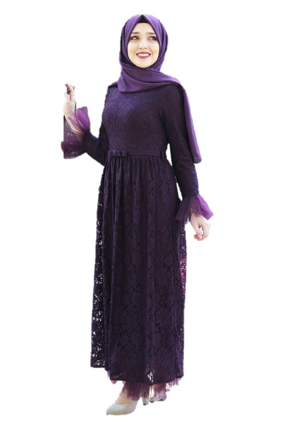Purple Lace Turkish Dress - Chaddors