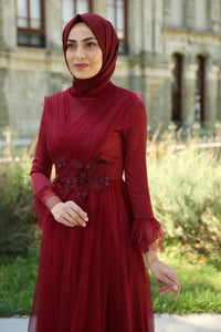 Manha Red Princess Turkish Dress - Chaddors