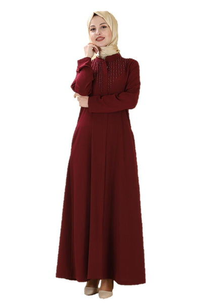 Pearl Detailed Maroon Turkish Abaya - Chaddors