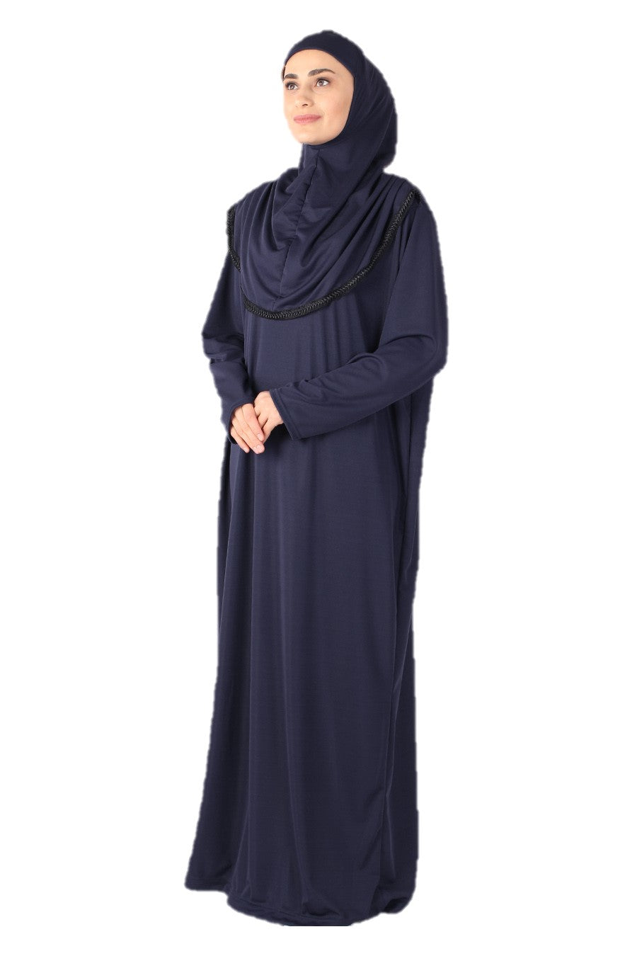 Navy with Lace Turkish Prayer Dress - Chaddors