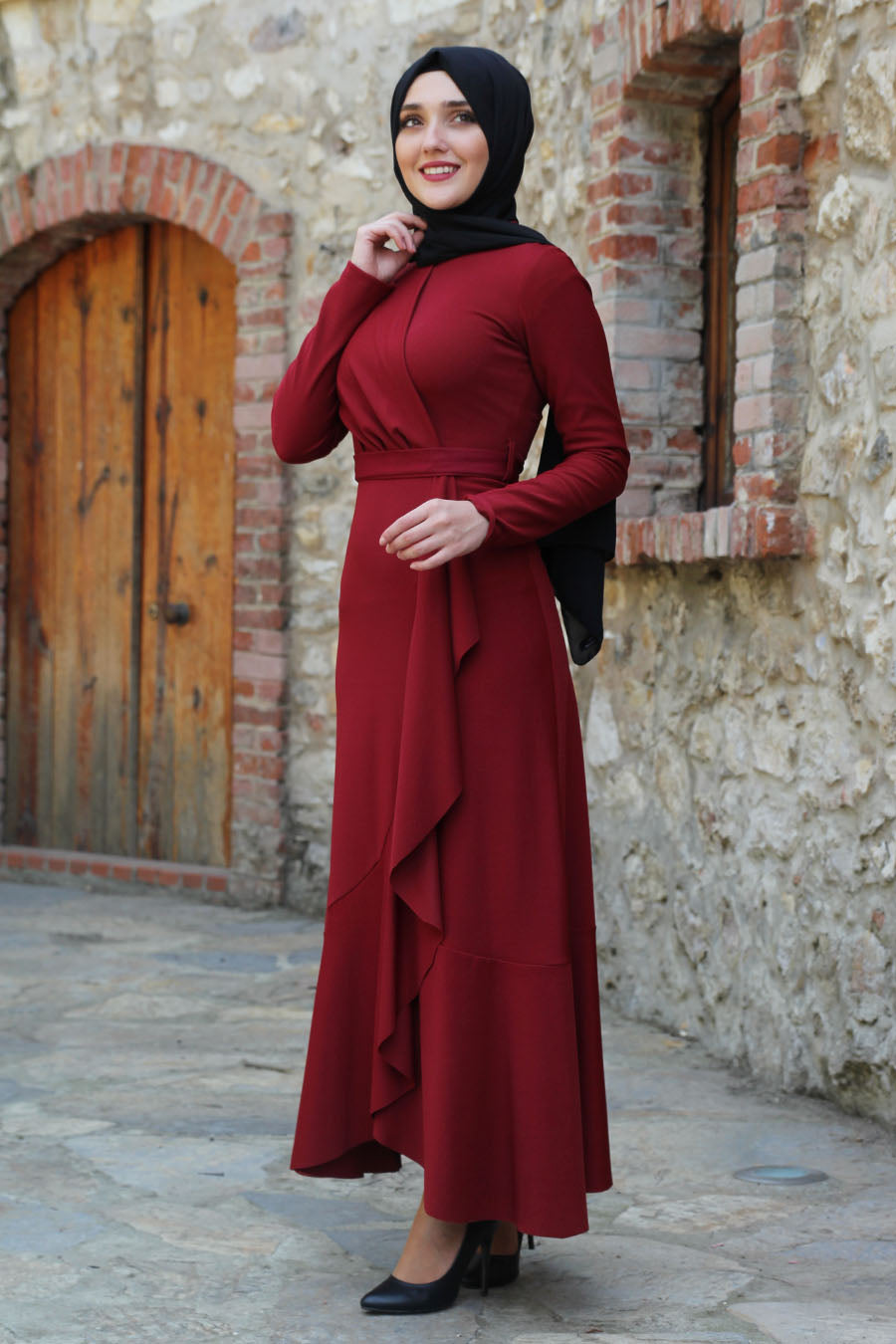Lara Ruffle Maroon Turkish Dress - Chaddors