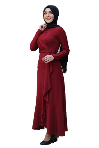 Lara Ruffle Maroon Turkish Dress