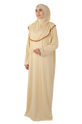 Cream with Lace Turkish Prayer Dress - Chaddors