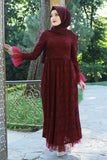 Maroon Lace Turkish Dress