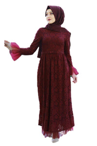 Maroon Lace Turkish Dress - Chaddors