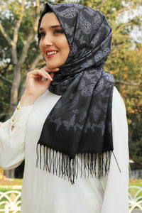 Black Printed Turkish Hijab - Chaddors